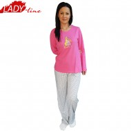 Pijamale Dama Maneca Lunga, Model Choose Happiness, Producator Benter Fashion Wear, Material Bumbac 100%, Culoare Fucsia, Pijamale Dama Maneca si Pantalon Lung