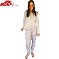 Pijamale Dama Maneca Lunga si Pantalon Lung, Material Bumbac 100%, Model 'Sweet Dreams', Brand Senso, Culoare Crem, Pijamale Import Italia