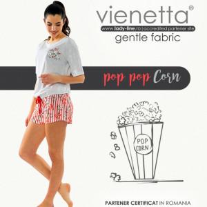 Pijamale Dama Manesca Scurta Pantalon Scurt Vienetta Model 'Pop Pop Corn'
