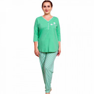 Pijamale Dama Marimi Mari Vienetta Model 'Daisy Flowers' Green
