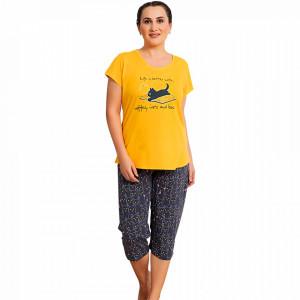 Pijamale Dama Marimi Mari Vienetta Model 'Life is Better with Coffee & Cats'