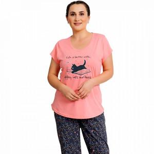 Pijamale Dama Marimi Mari Vienetta Model 'Life is Better with Coffee & Cats' Pink