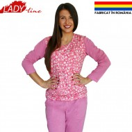 Pijamale Dama Toamna, Model Pink and Flowers, Producator Ana Art Textil, Culoare Roz, Pijamale Dama Maneca si Pantalon Lung