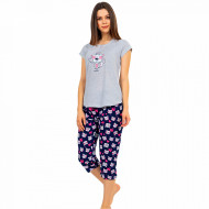 Pijamale Dama Vienetta din Bumbac cu Pantalon 3/4 Model 'Be Happy' Gray