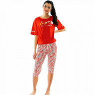 Pijamale Dama Vienetta din Bumbac cu Pantalon 3/4 Model 'Poppin' Red'