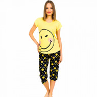 Pijamale Dama Vienetta din Bumbac cu Pantalon 3/4 Model 'Smiley face'