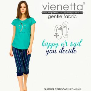 Pijamale Dama Vienetta din Bumbac Model 'Happy or Sad You Decide' Green
