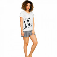 Pijamale Dama Vienetta, 'Good Mornings Panda' Culoare Alb