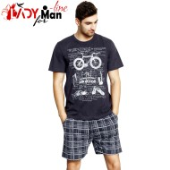 Pijamale Gazzaz by Vienetta, Bumbac 100%, 'Swim, Bike & Run' Dark Gray