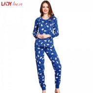 Pijamale Vienetta Secret, Bumbac 100%, 'Party Time' Blue