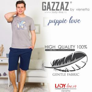 Pijamle Barbati Gazzaz by Vienetta, 'Puppie Love' Gray