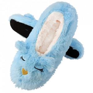 Papuci de Casa Tip Saboti, 'Sleeping Kitty' Blue