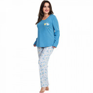 Pijamale Dama Marimi Mari Vienetta, Bumbac 100%, 'Beauty Love' Blue