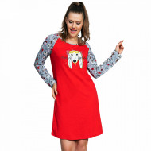 Camasa Dama din Bumbac cu Maneca Lunga Vienetta, Model 'Doggy Trend' Red