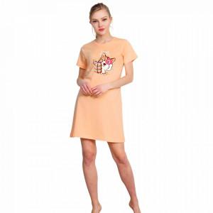 Camasa de Noapte Bumbac 100% Vienetta, Model 'Dreams Come True' Orange