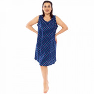 Camasa de Noapte din Bumbac Marimi Mari Vienetta Model 'Dots Divine' Blue