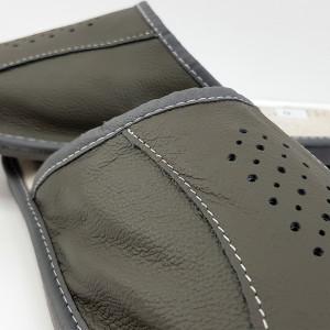 Papuci de Casa Barbati din Piele Culoare Gri Model 'Classic Gray'