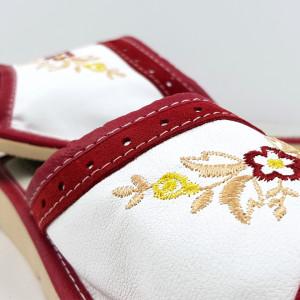 Papuci de Casa Dama din Piele, Sezon Vara, Culoare Alb Model 'Mehar White'