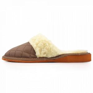 Papuci de Casa Dama Imblaniti cu Lana de Oaie Model 'Renaissance' Sepia
