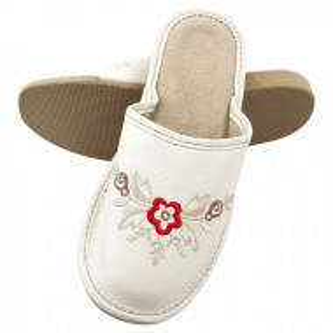 Papuci de Casa Dama, Material Piele, Culoare Alb, Model 'White Elegance'