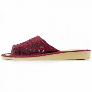 Papuci de Casa Dama, Material Piele, Culoare Visiniu, Model 'Elaborate Patrol' Burgundy