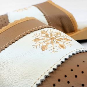 Papuci de Casa din Piele si Lana de Oaie Culoare Crem Model 'Suflet Pur'