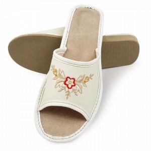 Papuci de Casa Vara din Piele Culoare Alba Model 'White Tayanna'