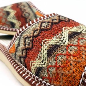 Papuci de Casa Vara Material Textil Tesut Culoare Maro Model 'Zyanya'
