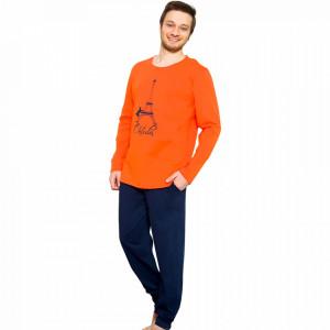 Pijama Barbati Gazzaz by Vienetta, 'Oh Lala' Orange