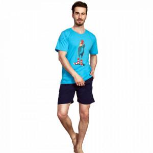 Pijama Barbati Gazzaz by Vienetta, 'Rooster - Limited Edition' Blue