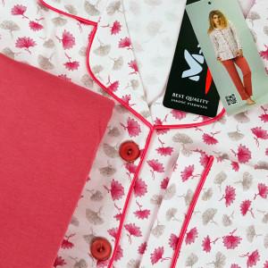 Pijama cu Nasturi Dama M-Max, Bumbac 100%, 'Classic Approach'