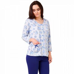 Pijama Dama Cu Nasturi din Bumbac, M-Max, Model 'Beauty Of Topaz'