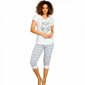 Pijama Dama din Bumbac 100%, Brand Vienetta, Model 'Sleepy Owl'