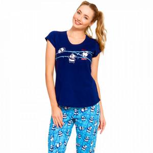 Pijama Dama din Bumbac 100% Vienetta Model 'Hello Panda'
