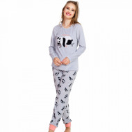 Pijama Dama Soft Velur Vienetta Model 'Nap Time' Gray