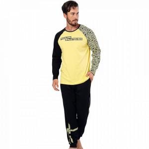 Pijamale Barbati Confortabile din Bumbac Gazzaz by Vienetta Model 'Mind Life Vibes'