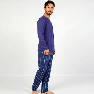 Pijamale Barbati Confortabile din Bumbac Gazzaz by Vienetta Model 'Infinity' Blue