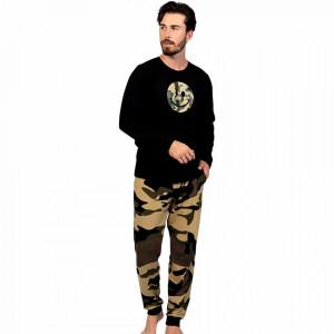 Pijamale Barbati Confortabile din Bumbac Gazzaz by Vienetta Model 'Camouflage Back in Trend'
