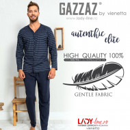 Pijamale Barbati Marimi Mari din Bumbac Gazzaz by Vienetta 'Authentic Elite' Gray