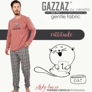Pijamale Barbati Model 'Cattitude' Culoare Roz Brand Gazzaz by Vienetta
