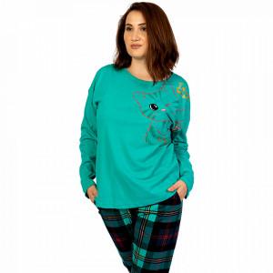 Pijamale Confortabile Dama Marimi Mari Vienetta Model 'Cattitude' Green