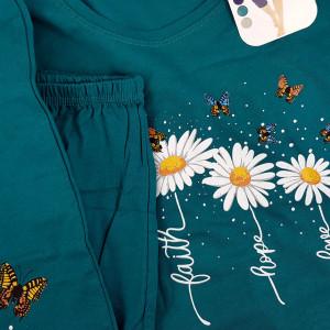 Pijamale Confortabile din Bumbac Marimi Mari Vienetta Model 'Faith Hope Love' Green