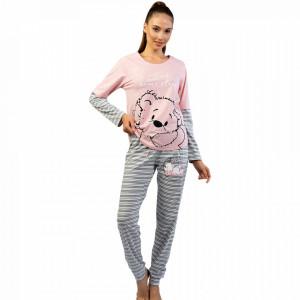 Pijamale Confortabile din Bumbac Vienetta Model 'Just Need Some Sleep'