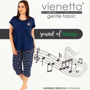 Pijamale Confortabile Marimi Mari din Bumbac Vienetta Model 'Sound of Nature'