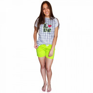 Pijamale Dama Bumbac, Senso, Model 'Love Fruits' Green
