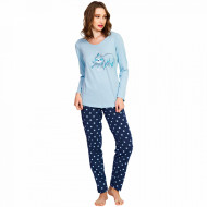 Pijamale Dama Bumbac Vienetta, Model 'Lets Just Sleep' Blue