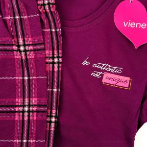 Pijamale Dama din Bumbac 100% Vienetta Model 'Be Authentic - Not Unique'