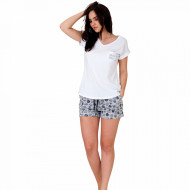 Pijamale Dama din Bumbac, M-Max, Model 'Espresso Yourself' White