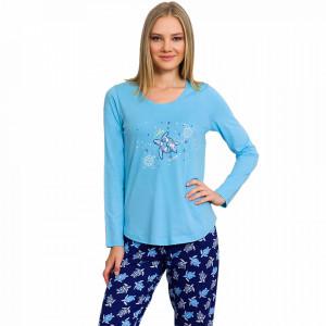 Pijamale Dama din Bumbac Vienetta Model 'Turtley Awesome' Blue