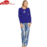 Pijamale Dama Maneca Lunga, Model Be Awesome, Producator Vienetta, Bumbac 100%, Culoare Albastru, Pijamale Dama Vienetta